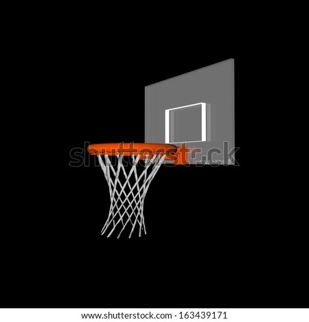 3D render of a basketball rim and net over black - stock photo