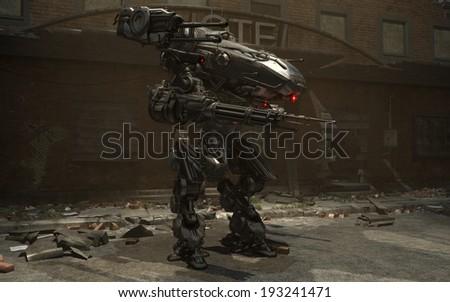 3d render of a battle mech - stock photo