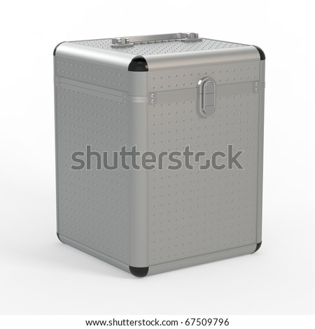 3d render of a beautiful metallic box on white backgriund - stock photo