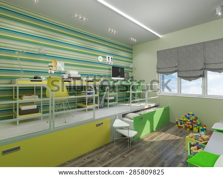 3D render of a bedroom for sibling in green and yellow colour