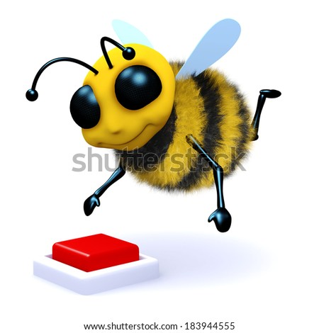 3d render of a bee about to push a red button - stock photo