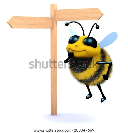 3d render of a bee at a road sign