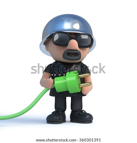 3d render of a biker holding a green power lead connector.
