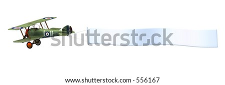 3D render of a biplane pulling a blank banner. - stock photo