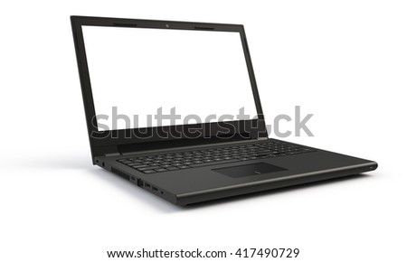 3d render of a black laptop isolated on white. The screen if led white. the laptop screen is open and facing forward