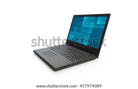 3d render of a black laptop isolated on white. The screen shows a blue cyan abstract squares  image.  the screen is open and facing forward
