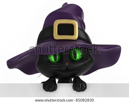 3D render of a black witch cat - stock photo