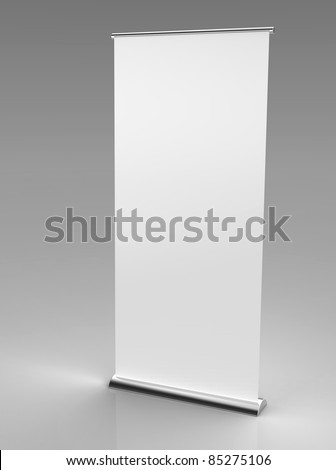 3d render of a blank roll up banner on a grey background - stock photo