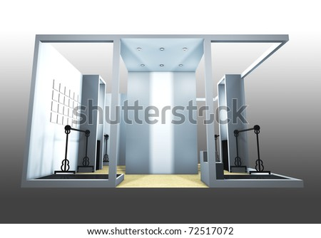 3d render of a blank trade exhibition booth - stock photo