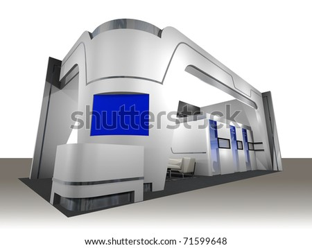 3d render of a blank trade exhibition booth with screen, counter, seats and lights