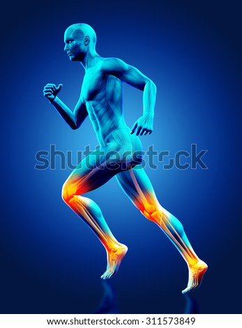 3D render of a blue male medical figure running with ankle and knee joints highlighted - stock photo