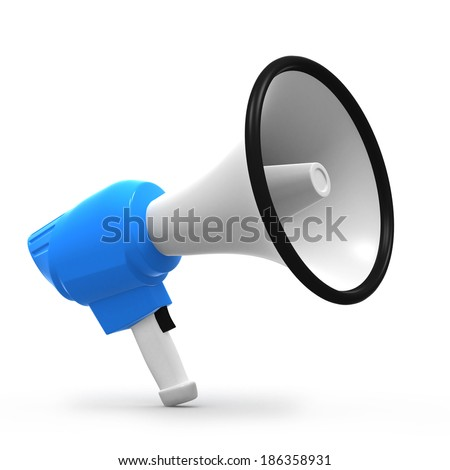 3d render of a blue megaphone - stock photo