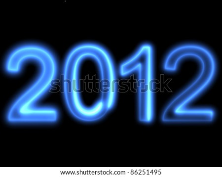 "3d render of a blue text ""2012""."
