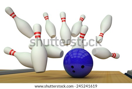3d render of a bowling ball crashing into the pins