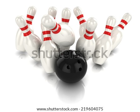 3d render of a bowling ball hitting the pins - stock photo