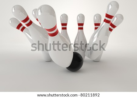 3D render of a bowling pins with light at the gray background