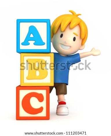 3d render of a boy and blank building blocks - stock photo