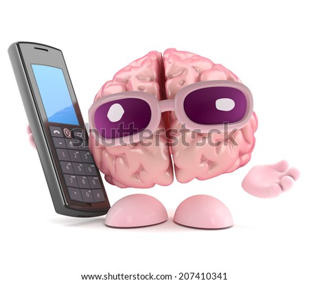 3d render of a brain character holding a cellphone - stock photo