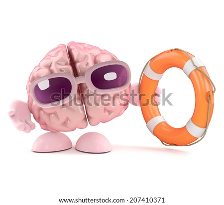 3d render of a brain character holding a life saver - stock photo