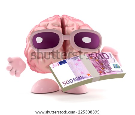 3d render of a brain character holding a wad of Euro bank notes - stock photo