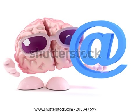 3d render of a brain holding an email address symbol - stock photo