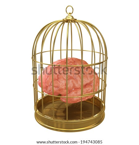 3d render of a brain in a golden cage - stock photo