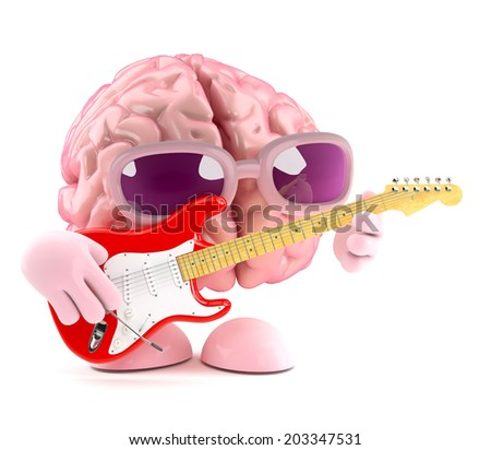 3d render of a brain playing an electric guitar - stock photo
