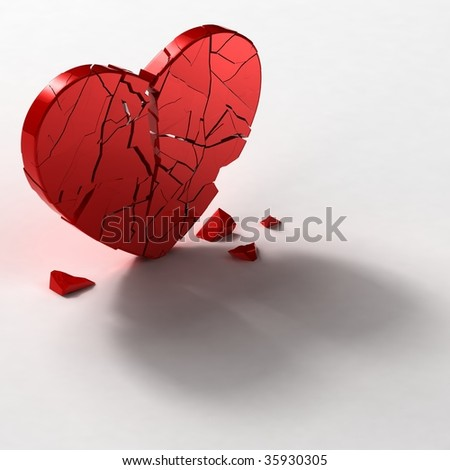 3d render of a broken heart on a white background with a soft shadow - stock photo