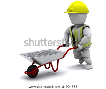 3D render of a Builder with a wheel barrow carrying cement - stock photo