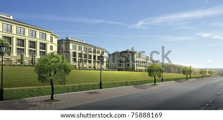 3D render of a building - stock photo