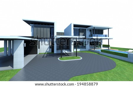 3D render of a building, isolated on white