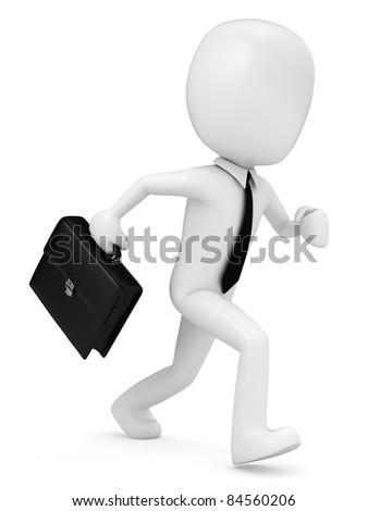 3D Render of a business man running - stock photo