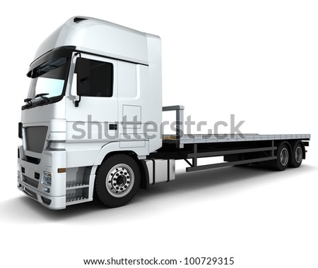 3D Render of a Cargo Delivery Vehicle - stock photo