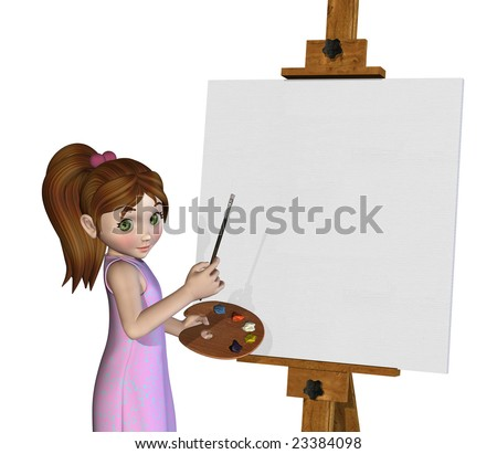3D render of a cartoon girl getting ready to paint on a blank canvas. - stock photo