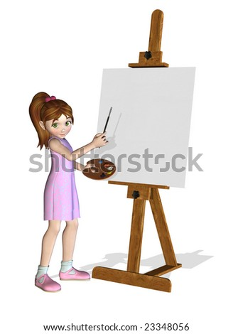 3D render of a cartoon girl who is about ready to paint on a blank canvas. - stock photo