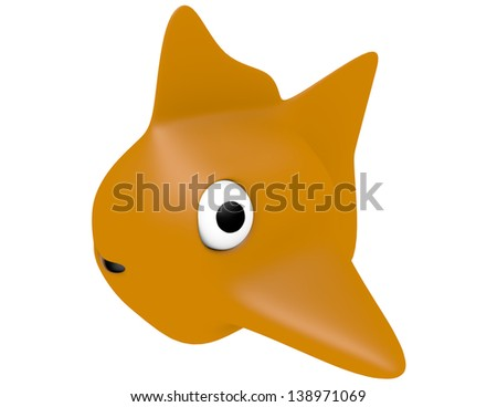 3d Render of a Cartoon Gold Fish - stock photo