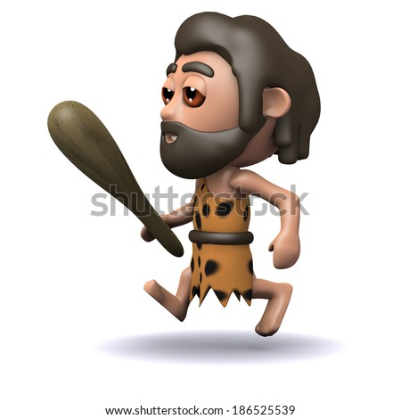 3d render of a caveman running with his club in hand