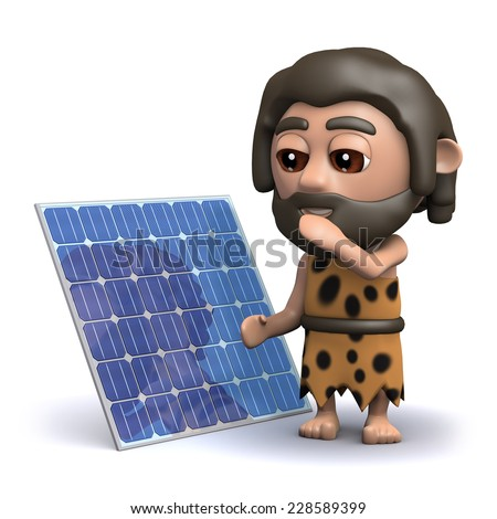 3d render of a caveman with a solar panel - stock photo