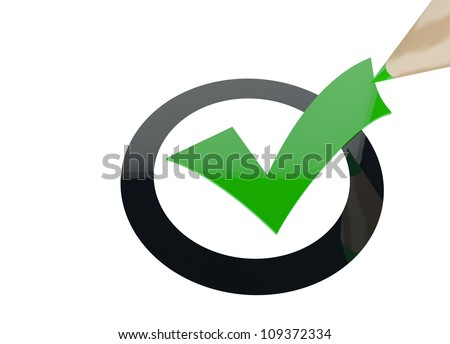 3d render of a check mark symbol with a green pen
