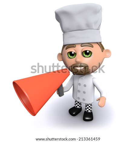 3d render of a chef with a megaphone