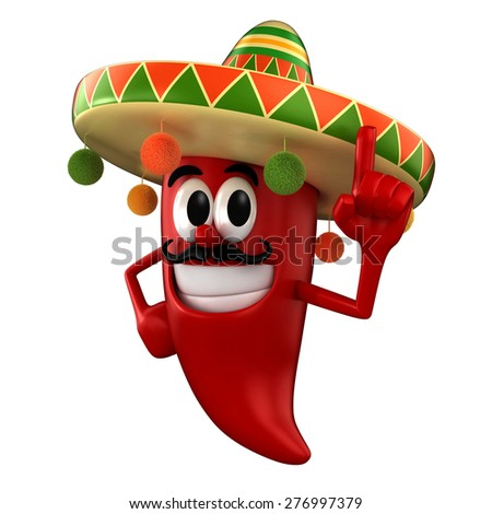 3d render of a chili pointing up wearing mexican costume