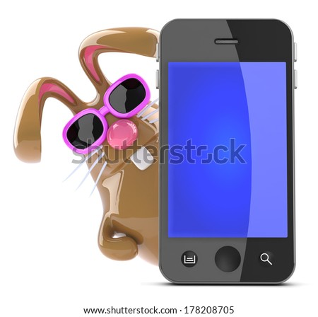 3d render of a chocolate Easter bunny behind a smart phone. - stock photo