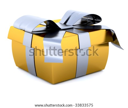 3D Render of a Christmas Gift Isolated on white
