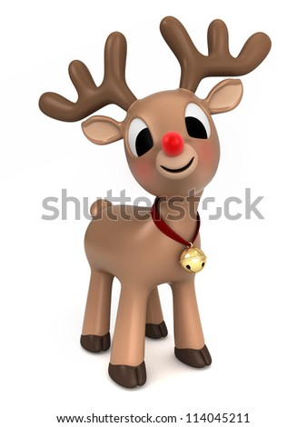3d render of a christmas reindeer - stock photo