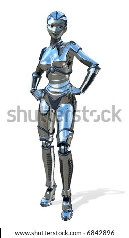 3D render of a chrome female robot.