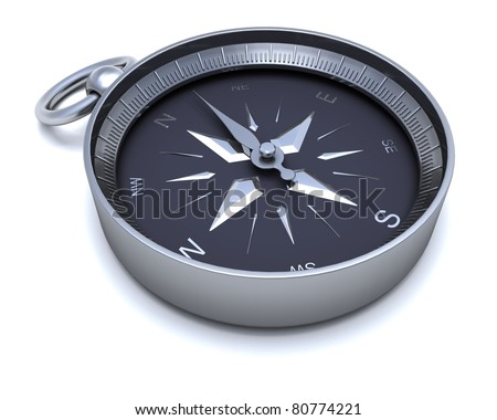 3D render of a Chrome navigational compass
