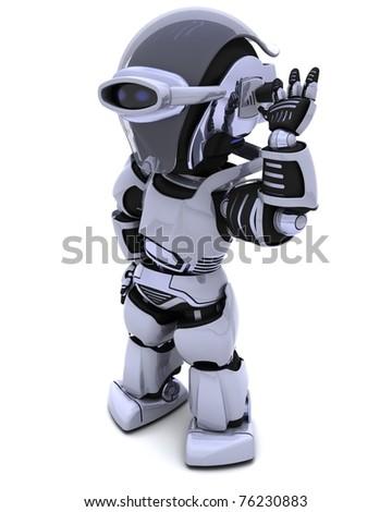 3D render of a chrome robot listening - stock photo