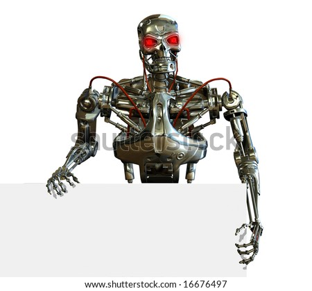 3D render of a chrome robot with the edge of a blank sign. - stock photo