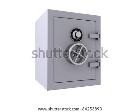 3D render of a closed bank vault - stock photo