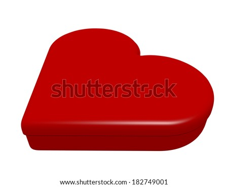 3d Render of a Closed Heart Shaped Box - stock photo